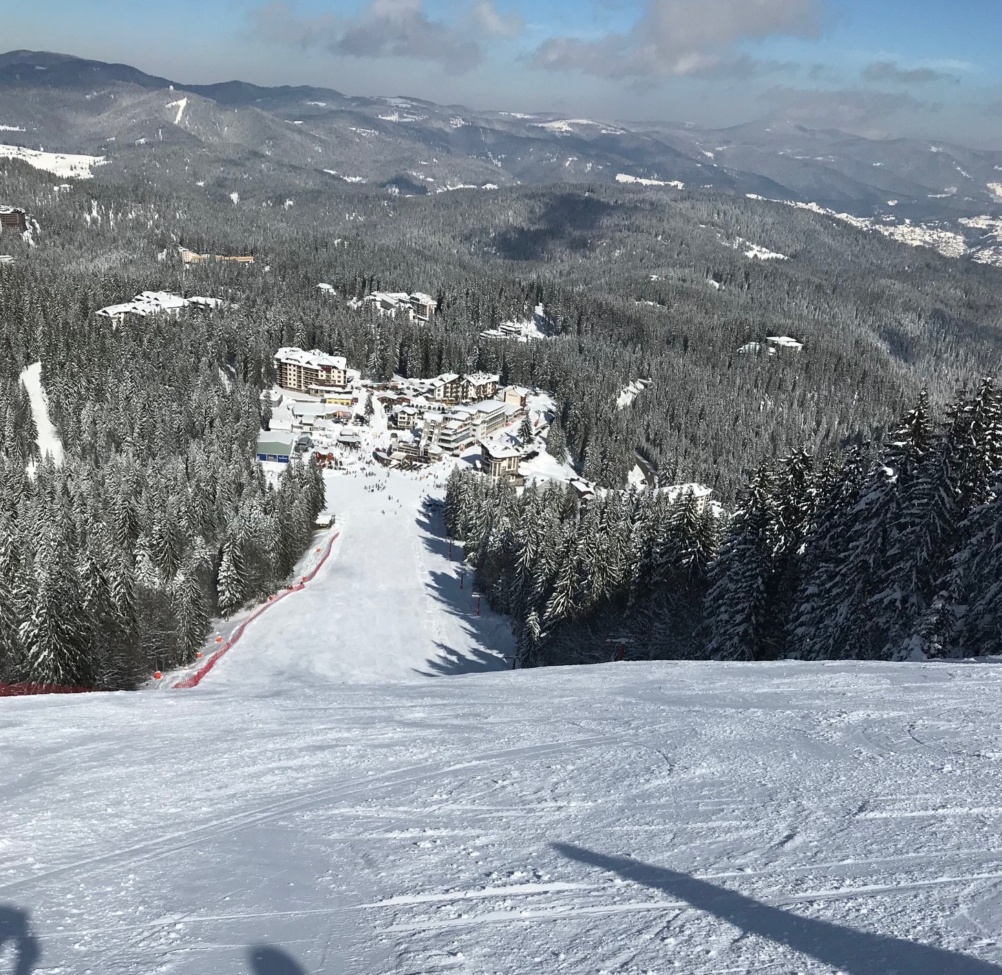 Looking down the demo slope in Pamporovo